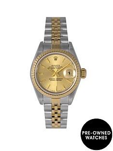 rolex-rolex-pre-owned-datejust-champagne-baton-dial-bimetal-ladies-watch-ref-69173