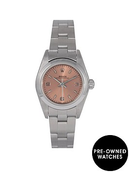 rolex-rolex-pre-owned-oyster-perpetual-salmon-dial-stainless-steel-ladies-watch-ref-76080