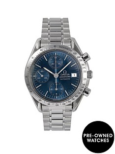 omega-omega-pre-owned-speedmaster-reduced-date-blue-dial-stainless-steel-mens-watch-ref-351180