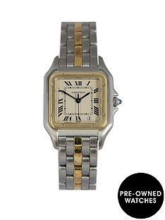 cartier-cartier-pre-owned-panthere-1-row-off-white-dial-bimetal-mens-watch-ref-183949