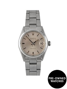 rolex-rolex-pre-owned-midsize-oysterdate-silver-dial-stainless-steel-mens-watch-ref-6466