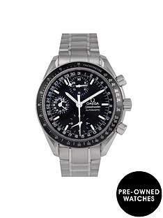omega-omega-pre-owned-speedmaster-reduced-triple-calendar-black-dial-stainless-steel-mens-watch-ref-352050