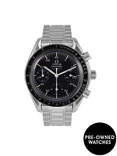 omega-omega-pre-owned-speedmaster-reduced-date-black-dial-stainless-steel-mens-watch-ref-351050