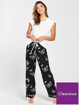 v-by-very-butterflynbspshort-sleeve-ruffle-top-woven-pj-blackwhite