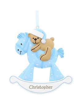 personalised-blue-rocking-horse-resin-decoration