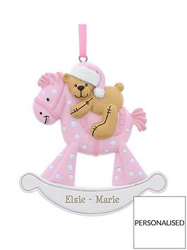 personalised-pink-rocking-horse-resin-christmas-tree-decoration