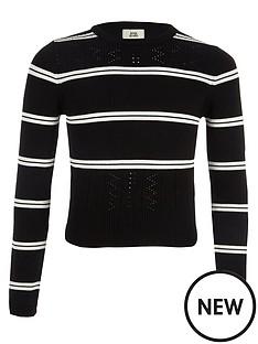 river-island-girls-black-stripe-fitted-long-sleeve-jumper