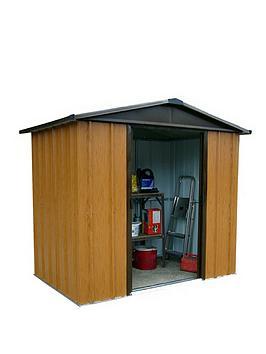 yardmaster-yardmaster-6-x-7ft-woodgrain-effect-apex-roof-metal-shed