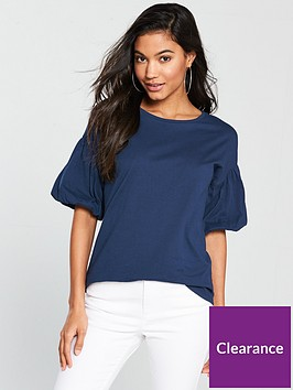 v-by-very-puff-sleeve-t-shirt-denim-blue