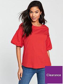 v-by-very-puff-sleeve-t-shirt-rednbsp