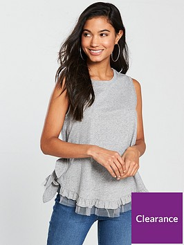 v-by-very-mesh-hem-tie-side-vest-grey-marlnbsp