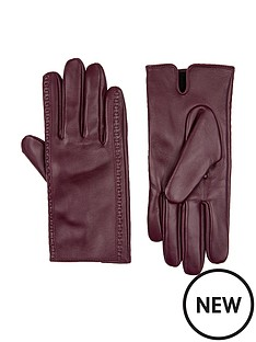 accessorize-stitch-detail-leather-gloves