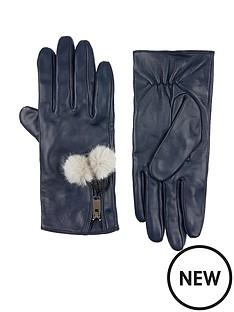 accessorize-pom-pom-zip-leather-gloves