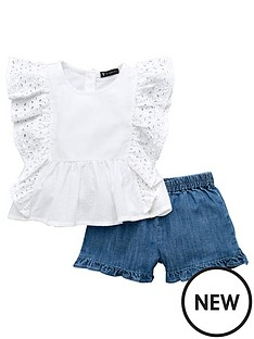 mini-v-by-very-girls-ruffle-top-and-denim-short-set