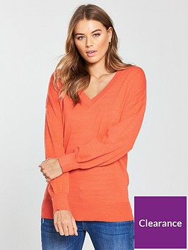 v-by-very-v-neck-blouson-sleeve-slouch-jumper-orange