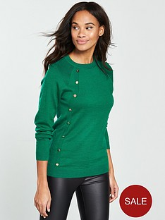 v-by-very-button-side-placket-jumper-jade-green