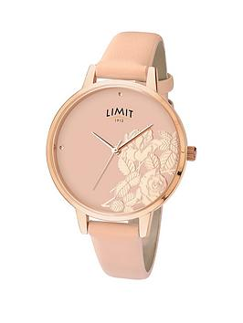 limit-rose-gold-plated-blush-strap-floral-dial-ladies-watch