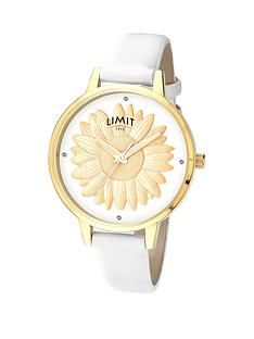 limit-gold-plated-white-strap-ampnbsp3d-gold-plated-sunflowernbspdial-ladies-watch