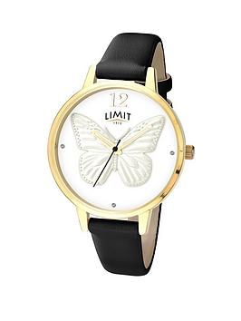 limit-gold-plated-case-3d-silver-tone-butterfly-dial-ladies-watch