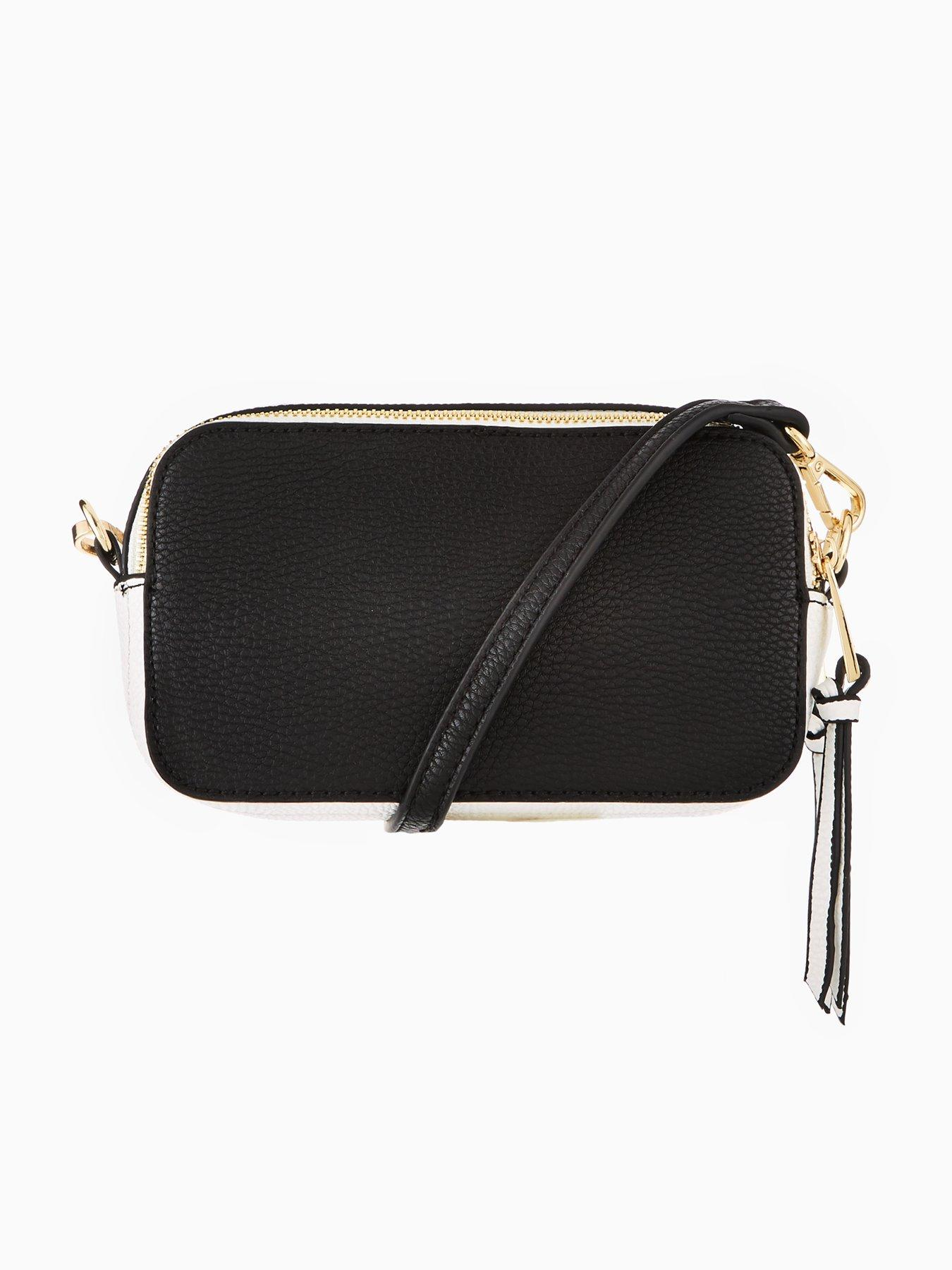 V by Very Double Zip Crossbody Bag - Monochrome