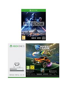 xbox-one-s-500gbnbspconsole-with-rocket-leaguenbspand-star-wars-battlefront-2-with-optional-extra-controller-andor-12-months-live-gold