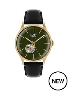 henry-london-automatic-green-dial-black-strap-mens-watch