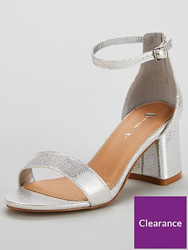 96932839ccd9 V by Very Anna Mid Block Heel Ankle Strap Sandal - Silver ...