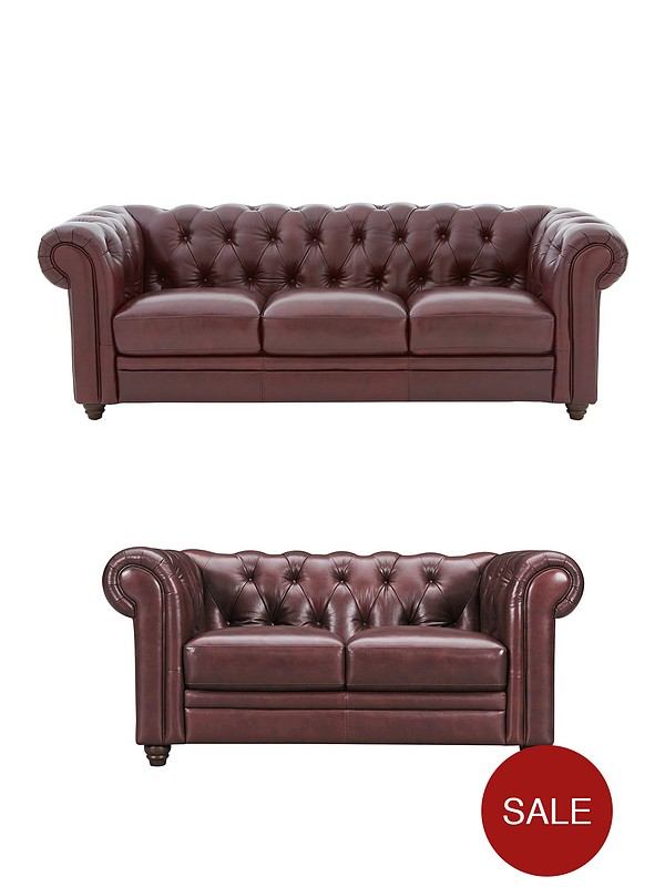 Chester Leather 3 Seater + 2 Seater Premium Leather Sofa Set (Buy and SAVE!)