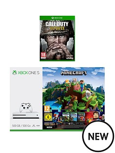 xbox-one-s-500gbnbspconsole-with-minecraft-minecraft-story-mode-call-of-duty-wwii-and-3-months-live-gold-plus-optional-extra-wireless-controller-andor-12-months-live-gold
