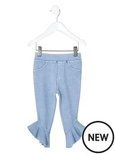 river-island-mini-girls-blue-denim-look-frill-hem-leggings