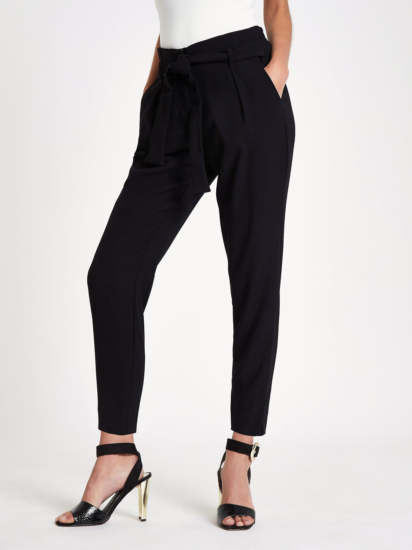 Womens Navy tie waist tapered trousers River Island