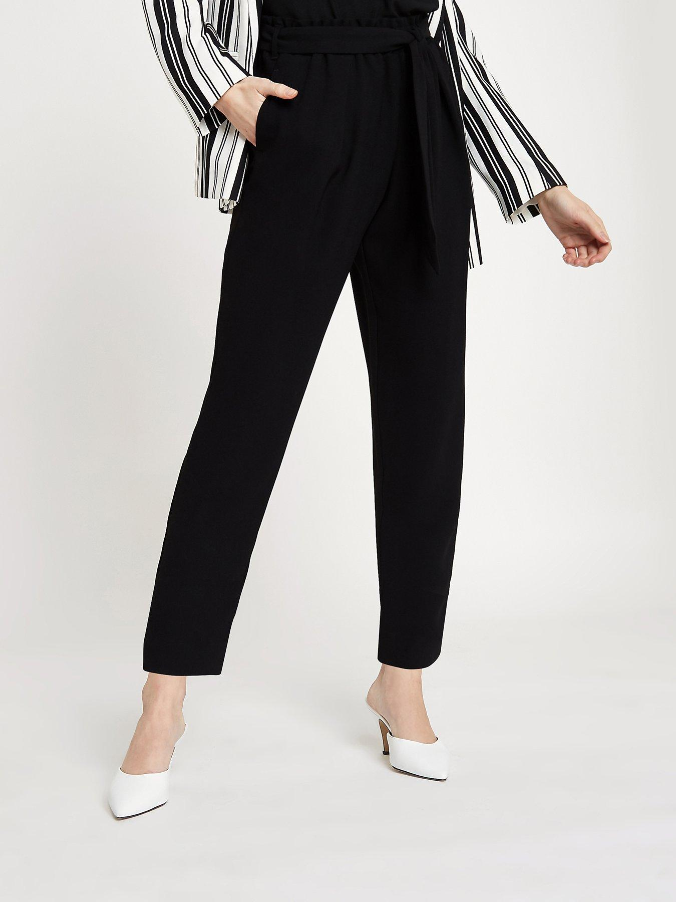 RI Petite Ri Petite Tie Waist Tapered Trousers- Black