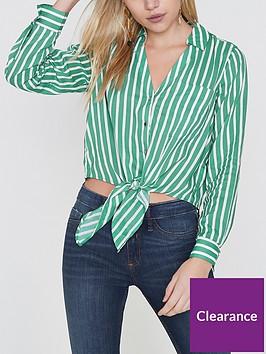 ri-petite-stripe-tie-front-shirt--green
