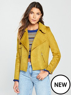 river-island-crop-faux-suede-trench-jacket--yellow