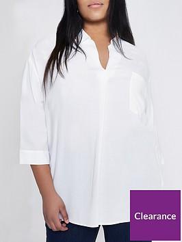 ri-plus-three-quarter-sleeve-v-neck-blouse-white