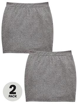 V by Very V By Very Girls 2 Pack Tube School Skirt - Grey Picture
