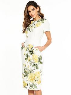 phase-eight-nika-floral-rose-print-dress-ivoryyellow