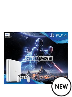 slimnbsp500gbnbspwhite-console-with-star-wars-battlefront-2-plus-optional-extra-controller-andor-12-months-playstation-network