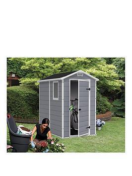 keter 4x6 apex manor resin shed. Black Bedroom Furniture Sets. Home Design Ideas