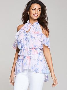 michelle-keegan-printed-tiered-halter-blouse