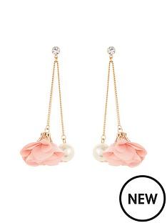 v-by-very-flower-pearl-drop-earrings