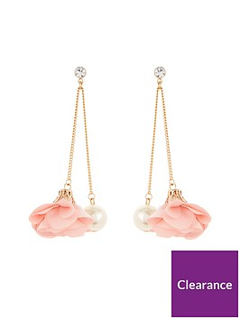 v-by-very-flower-pearl-drop-earrings
