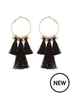 v-by-very-black-tassel-hoop-earrings