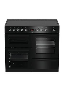 Beko   Kdvc100K 100Cm Wide Electric Range Cooker - Black - Rangecooker With Connection