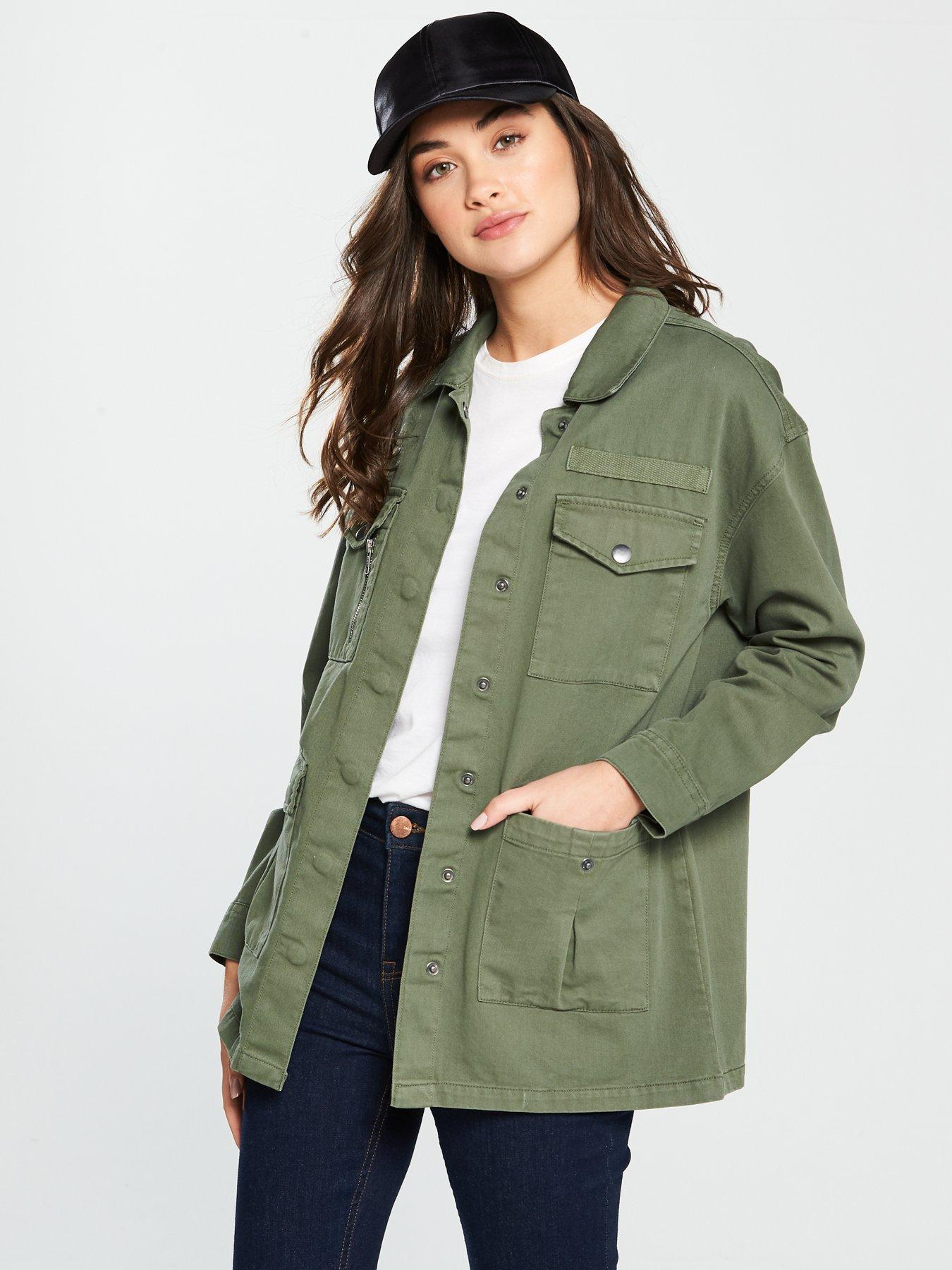 V by Very Patch Pocket Utility Jacket - Khaki