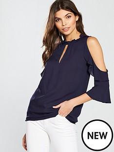 oasis-high-neck-cut-out-shoulder-blouse-blacknbsp