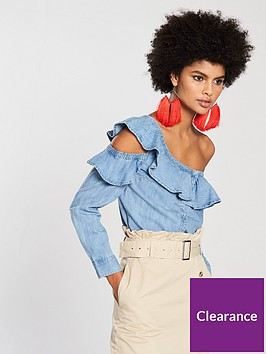 v-by-very-deconstructed-one-shoulder-ruffle-denim-shirt-bluenbsp