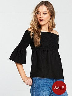 v-by-very-shirred-linen-bardot-top-black