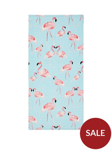 catherine-lansfield-flamingo-beach-towel