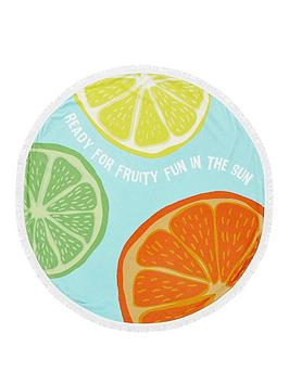 catherine-lansfield-summer-fruits-round-beach-towel
